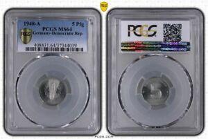 GDR 5 Pfennig 1948 A Fresh Mint Condition PCGS MS64 (37109)