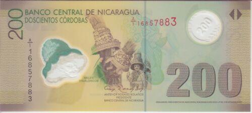 Nicaragua Banknote 205b 200 Cordobas 2007 Polymer 2012 UNC