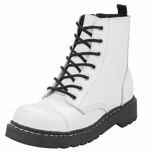 T.U.K. Shoes Anarchic 7 Eye White Leather Combat Boots t2201 ...