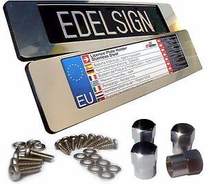 EDELSIGN-2x-EDELSTAHL-Kennzeichenhalter-INOX-BLING-360-f-36er-Nummernschilder