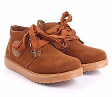 Unisex Lace Up Boys Sneakers Faux Suede Girls Flats Kids Youth Size Casual Shoes