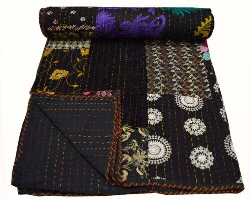 Indian Handmade Patchwork Kantha Quilt Queen Blanket Bedspread Throw Cotton Mult