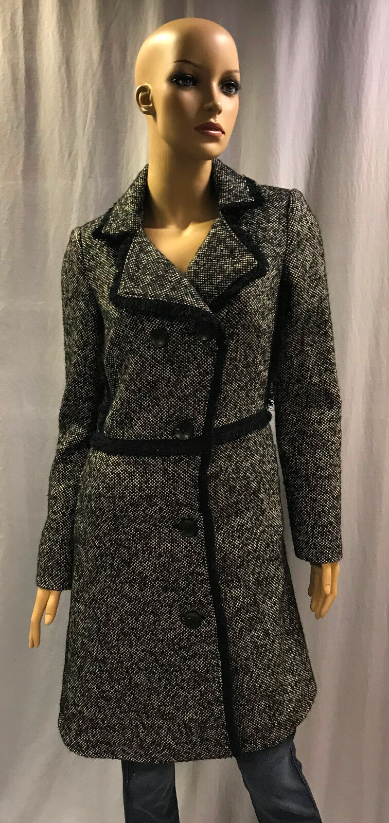 NEW THE LIMITED DOUBLE BREASTED WOOL BLEND TWEED COAT SZ PETITE M MEDIUM