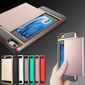 For-Apple-iPhone-5S-5C-6-7-8-Plus-SE-X-Card-Holder-Shockproof-Wallet-Case-Cover