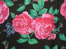 Vintage Shabby Style BLACK Cotton PINK ROSES Large Fabric Piece 44 x 4 yards