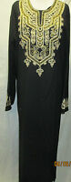 Islamic Muslim Women's Black Abaya Whit Beautifull Emboridey Works Long Dress