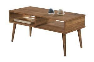Hogar24-Mesa de centro diseño vintage, madera maciza con dos compartimentos