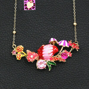 Betsey-Johnson-Enamel-Crystal-Conch-Shell-Flower-Pendant-Chain-Women-039-s-Necklace