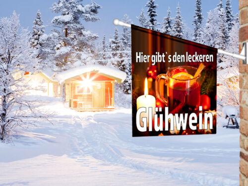 Fahnenset komplett Weihnachtsmarkt Werbefahne LECKERER GLÜHWEIN Kioskfahne
