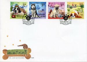 Croazia-2019-FDC-cani-II-HUSKIES-Pugs-St-Bernard-4v-COVER-Animali-Domestici-Animali-FRANCOBOLLI