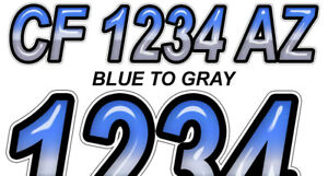 BLACK METALLIC Custom Boat Registration Numbers Decals Vinyl Lettering Stickers