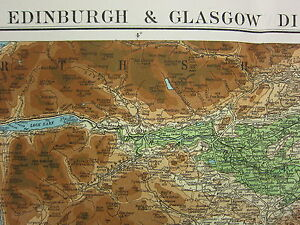 1919 LARGE MAP EDINBURGH GLASGOW DISTRICT SCOTLAND PHYSICAL LAND