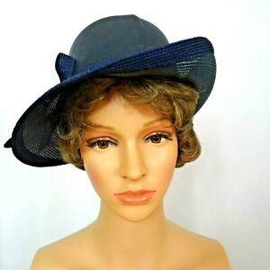 Vintage-Bretton-Style-Hat-Ann-Marie-Elegant-Black-Woven-Up-Tilted-Side-Brim