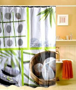 Image Is Loading Zen Bamboo Leaves Pebble Stones Design Shower Curtain