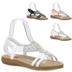Zu Damen Sommer Details Neu Riemchensandalen Schuhe Zierperlen Flats Trendy 830073 Sandalen WHIED29