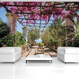 vlies tapete fototapeten tapeten terrasse garten blumen baum natur 14n10334v8 ebay. Black Bedroom Furniture Sets. Home Design Ideas