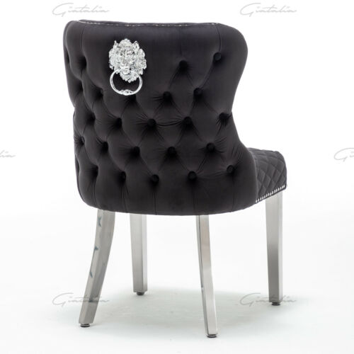 Grosvenor Luxury Black Plush Velvet Chairs