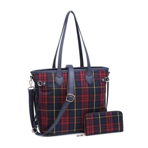New Womens Checkered with Purse Handbag Shoulder Crossbody Tote Messenger Bag