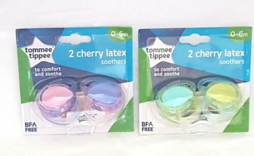 Tommee Tippee  2 X Cherry Soothers 0-6 Mths Bpa Free New