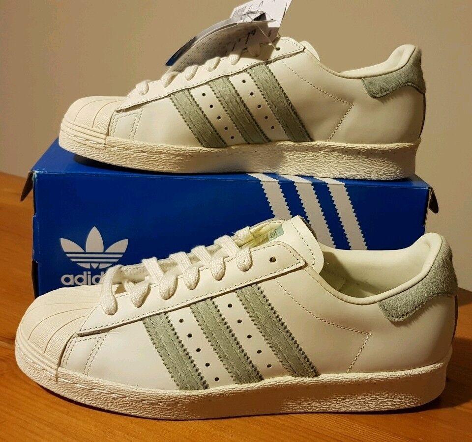 Adidas Originales Superstar 80s Eur Mujer oBlanco/GRN TALLA 4 Eur 80s (36 2/3) BNWT Nuevo Y En Caja 694309