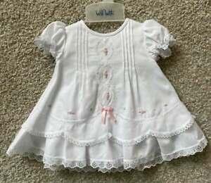 Will'beth Newborn Infant Baby Girl Fancy Heirloom Dress Embroidered Sz0 NWT Doll