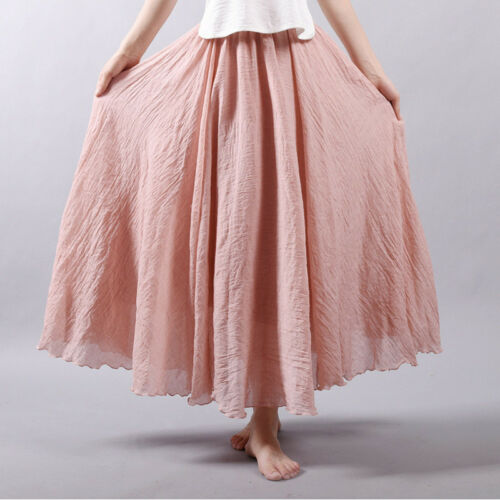 Frauen Vintage lange Röcke Leinen Baumwolle elastische Taille Strand Röcke