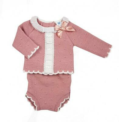 AW20 Baby Spanish Romany Dusky Rose Pink Knitted Bow Jumper /& Jam Pants Outfit