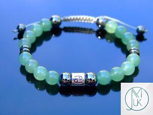 Cancer Aventurine Hematite Birthstone Bracelet 6-9'' Macrame Healing Stone Reiki