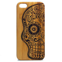 Sugar Skull Case For Iphone 6 Plus Or Iphone 6s Plus Bamboo Wood Cover Day Dead