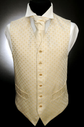 W - 546 OLD GOLD CREST/WAVE FORMAL WEDDING WAISTCOAT