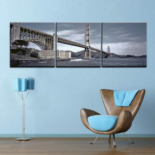 GOLDEN GATE BRIDGE 3 panel mounted on Fiberboard Canvas art//betterThan stretched