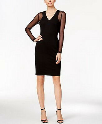 Calvin Klein Petite Illusion-Sleeve Ponte Sheath Dress Size 0P #C220 MSRP $139.0