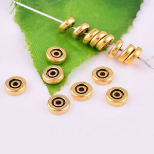Brass-Tibetan-Silver-Gaskets-Round-Loose-Spacer-Beads-DIY-Jewelry-Findings-6x4mm