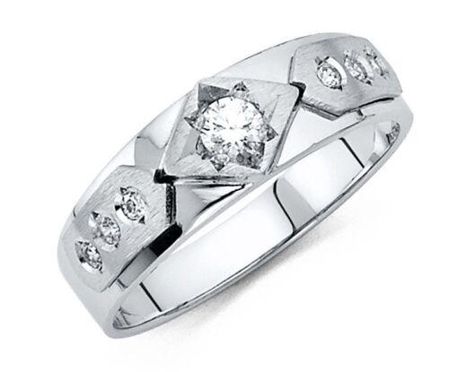 6 mm Round Cut Diamond Men/'s Wedding Band 14k Solid White Gold Ring
