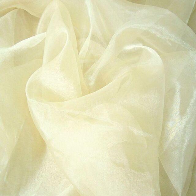 ORGANZA Deko-Stoff in Creme-Weiß hauch zart und duchsichtig Meterware Stoffe NEU