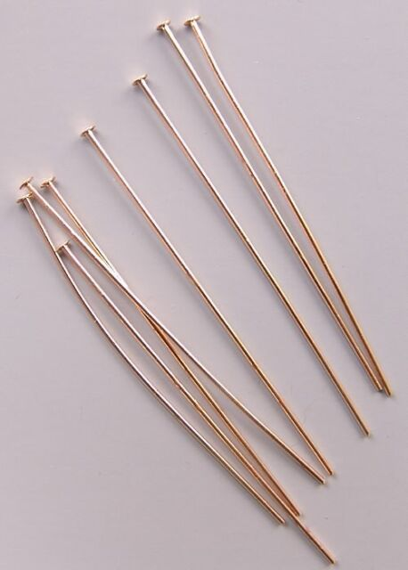 Lot 200 GOLD Plated Brass HEADPINS 2 inch 21 gauge No Lead No Nickel Head Pins