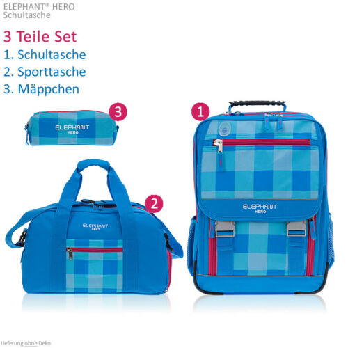 3T Set Elephant Hero Signature Ranzen XL Rucksack Sporttasche Mädchen 12364 Aqua