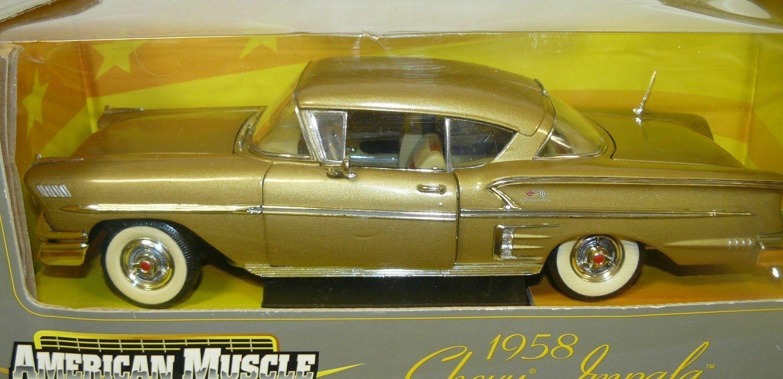 1 18, 1958 Chevy Impala, muy difícil de encontrar, rara, oro
