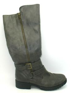 Born-BOC-Distressed-Brown-Mid-Calf-Zip-Up-Buckle-Boots-Womens-7M-EUC