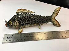Vintage Chinese Silver Enamel Brown Fish Rare Antique Gift Jewelry Precious 925