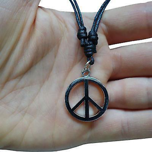 Peace-Sign-Silver-Tone-Pendant-Chain-Necklace-Choker-Charm-Mens-Ladies-Boys-Girl