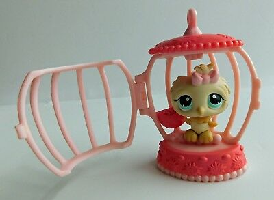 Littlest Pet Shop~#147~Owl~Cream~Pink Bow~Blue Dot Eye~Bird Seed~Cage~Red Magnet