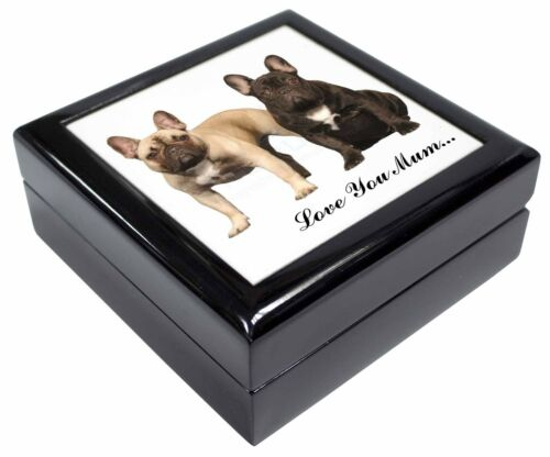 French Bulldogs /'Love You Mum/' Keepsake//Jewellery Box Christmas Gi AD-FBD1lymJB
