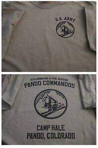 info for 35ebd 84aa4 Details about 10TH MOUNTAIN Alpine PANDA COMMANDOS Camp Hale T-Shirt XL  Army TAN Ultra Cotton