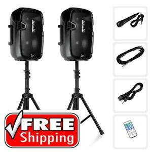 Pyle PPHP849K 8 Active + 8 Passive PA Speaker System Kit - Package, Bluetooth, Includes (2) Speaker Stands, Canada Preview