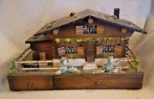 Vintage Handmade Wood House Ballerina Musical Jewelry Box Japan