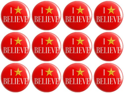 BUTTON PIN BADGES 25mm 1 INCH Christmas 12 x I Believe Miracle On 34th Street