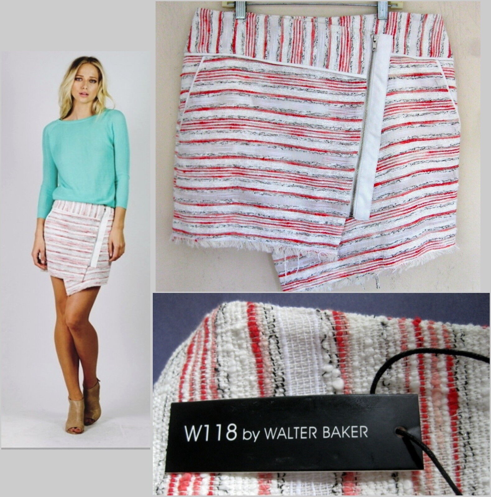 NWT Walter Baker mini skirt M  Wrap Striped Exposed zip Red White Short W118