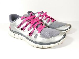 Details about Nike Free 5.0 Womens Running Athletic Shoes Size 9.5 SilverPink 580591 062