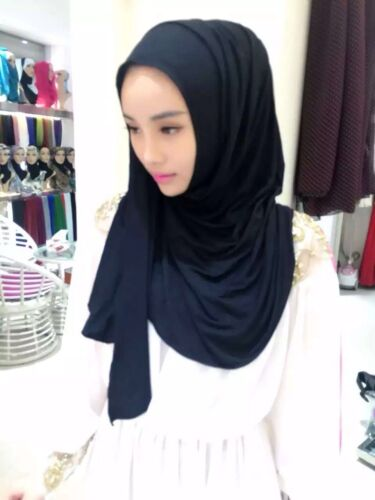 SLIP ON Ready to Wear Cotton Jersey Pullover Scarf Hijab Stretchy Cotton Shawl
